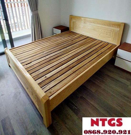 giường 1m2 gỗ sồi